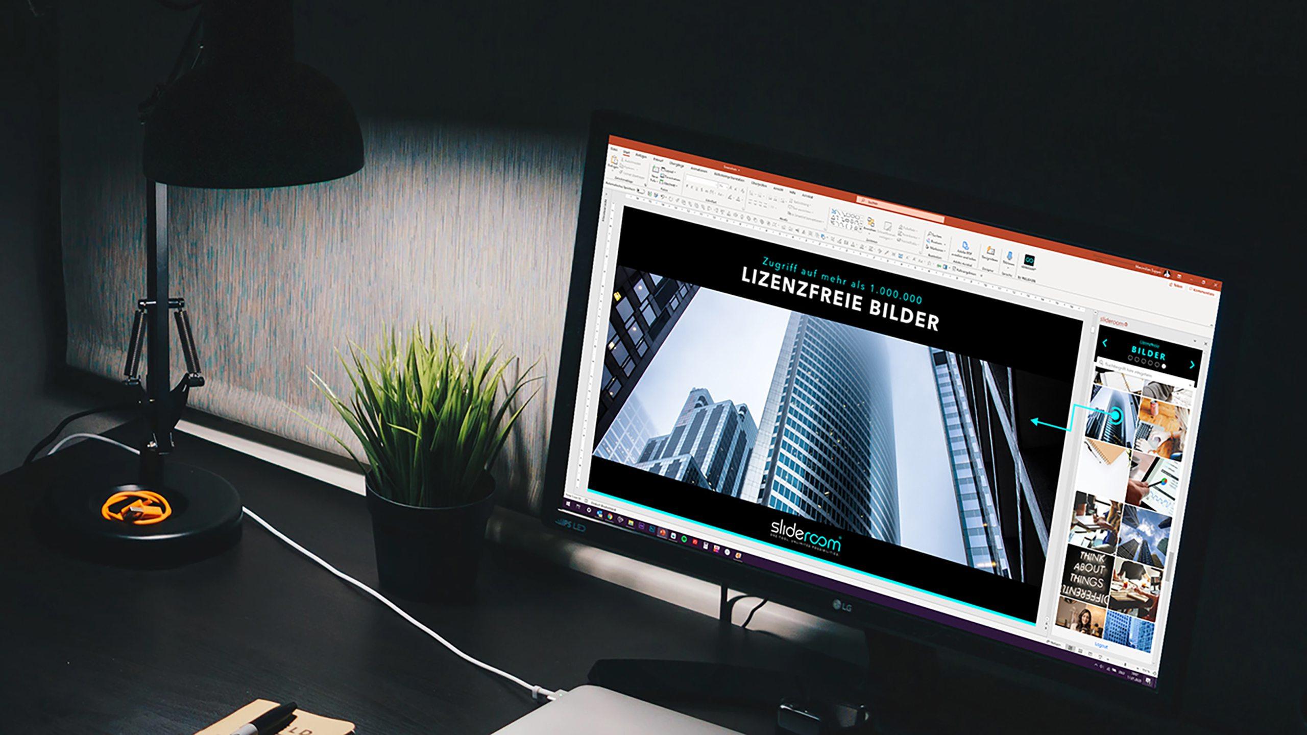 Slideroom PowerPoint Add-In MockUp Büro